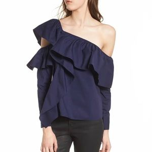 NEW Leith One-Shoulder Ruffle Top